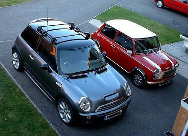 New mini cooper next to old model