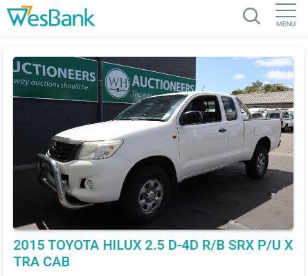 Wesbank Car Auction Screenshot