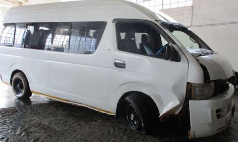 Smashed Toyota Quantum Taxi